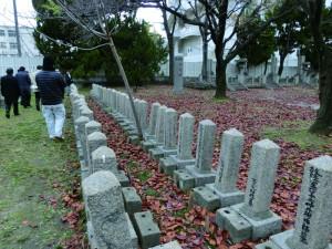 お墓が向かい合って並んでいる
